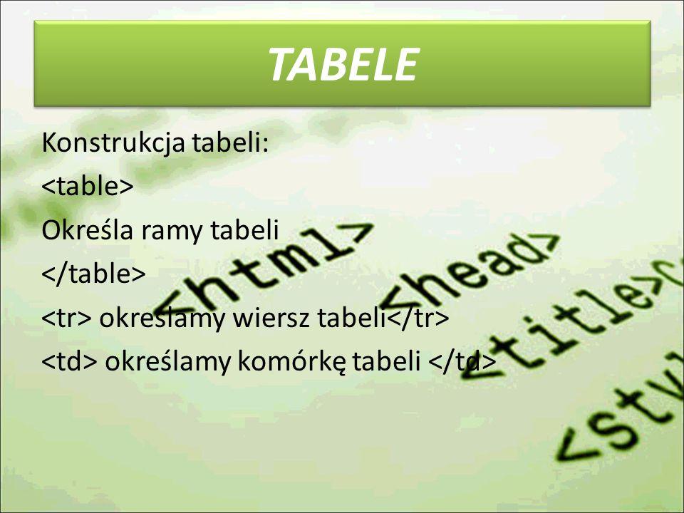 TABELE Konstrukcja tabeli: <table> Określa ramy tabeli </table> <tr> określamy wiersz tabeli</tr> <td> określamy komórkę tabeli </td>