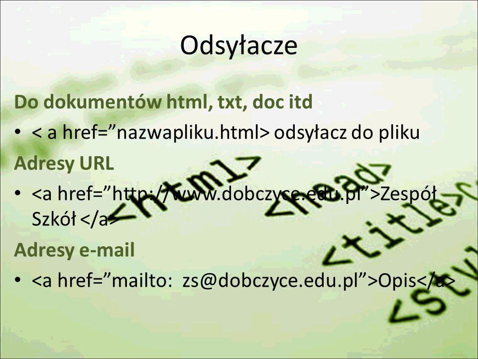 Odsyłacze Do dokumentów html, txt, doc itd
