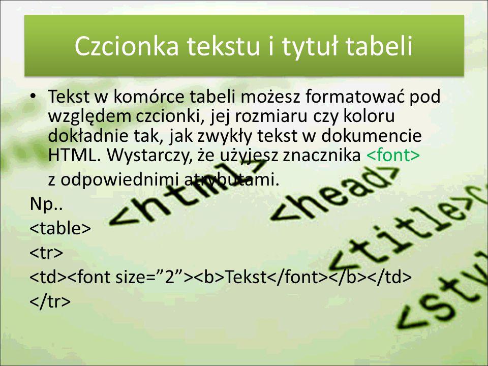 Czcionka tekstu i tytuł tabeli