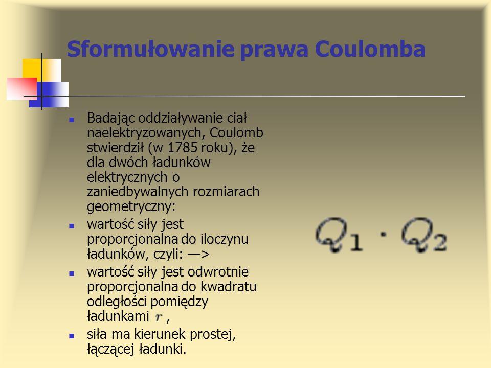 Sformułowanie prawa Coulomba