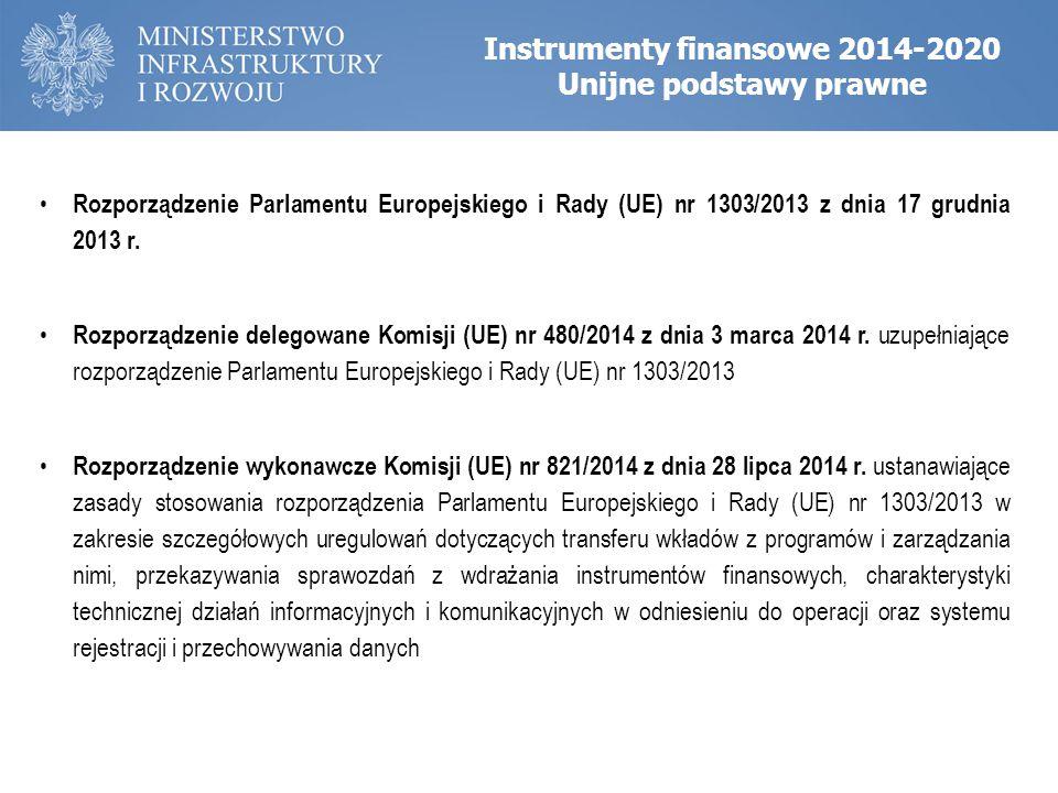 Instrumenty finansowe 2014-2020 Unijne podstawy prawne