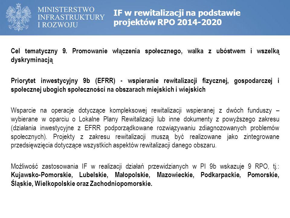 IF w rewitalizacji na podstawie projektów RPO 2014-2020