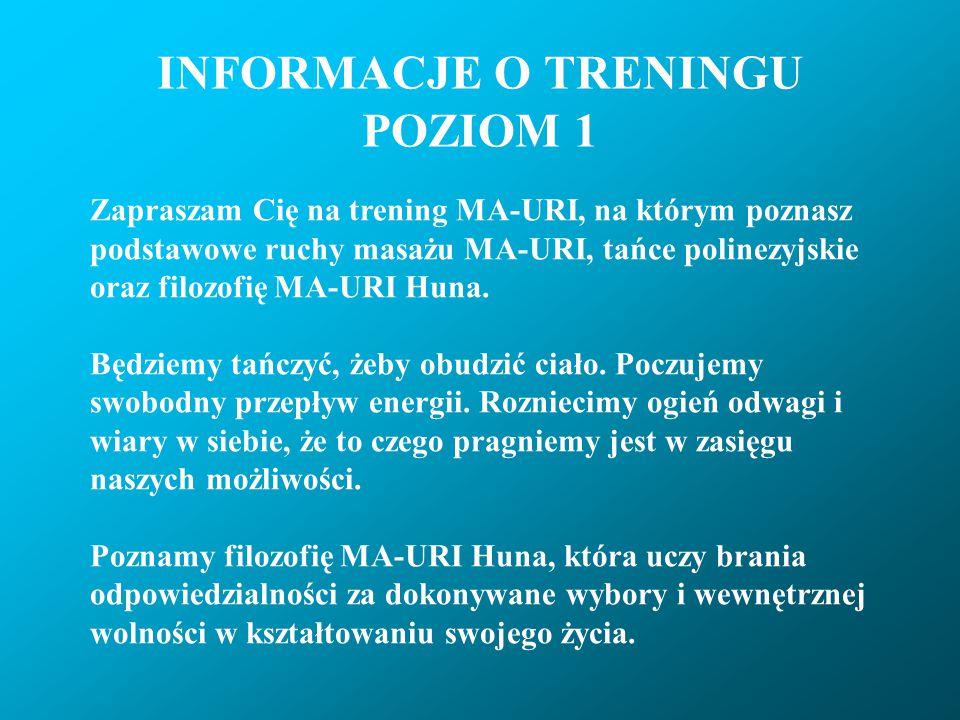 INFORMACJE O TRENINGU POZIOM 1