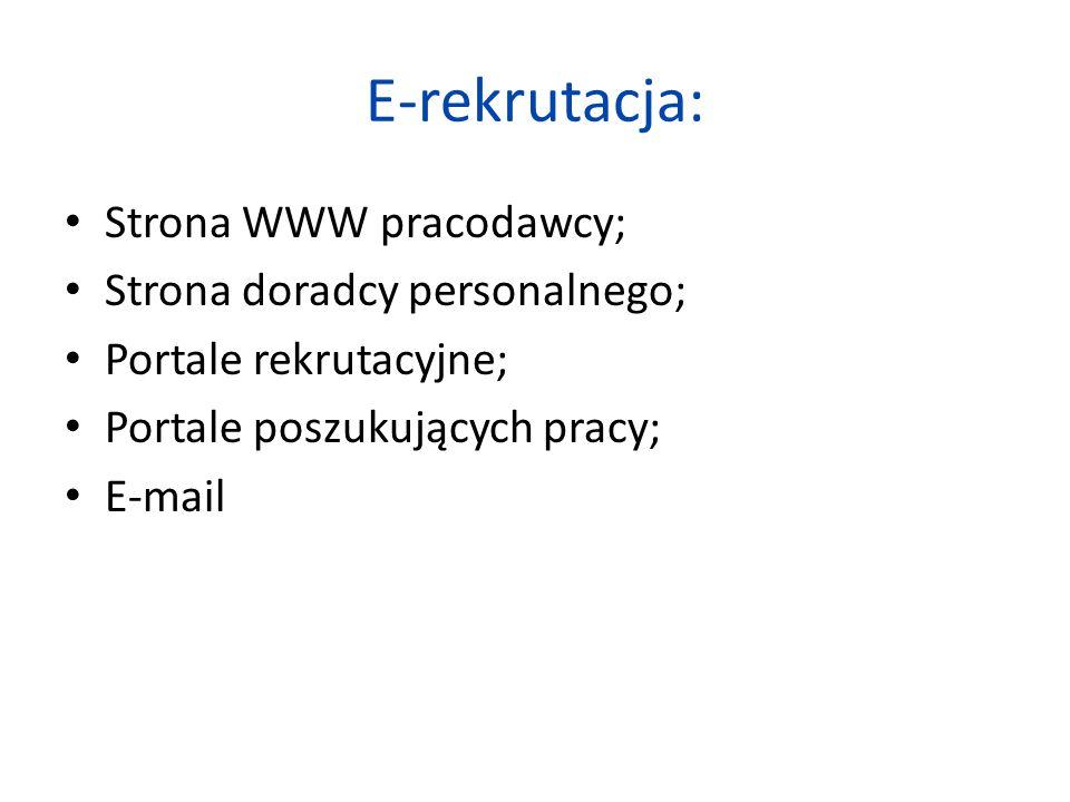 E-rekrutacja: Strona WWW pracodawcy; Strona doradcy personalnego;