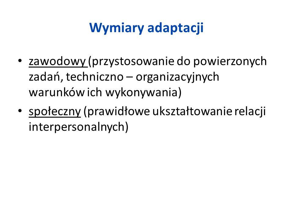 Wymiary adaptacji zawodowy (przystosowanie do powierzonych zadań, techniczno – organizacyjnych warunków ich wykonywania)