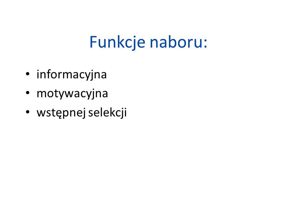 Funkcje naboru: informacyjna motywacyjna wstępnej selekcji