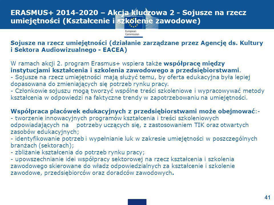 ERASMUS+ 2014-2020 – Akcja kluczowa 2 - Sojusze na rzecz umiejętności (Kształcenie i szkolenie zawodowe)