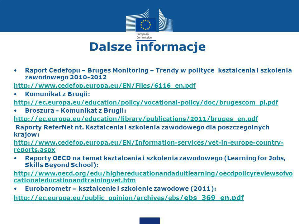 Dalsze informacje Raport Cedefopu – Bruges Monitoring – Trendy w polityce ksztalcenia i szkolenia zawodowego 2010-2012.