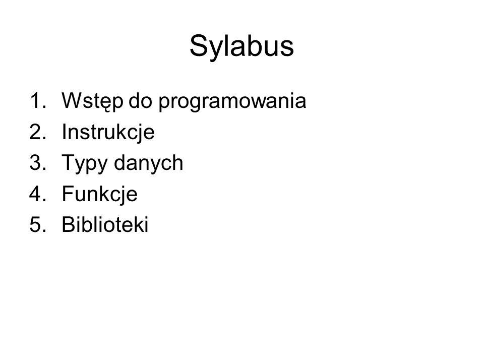 Sylabus Wstęp do programowania Instrukcje Typy danych Funkcje