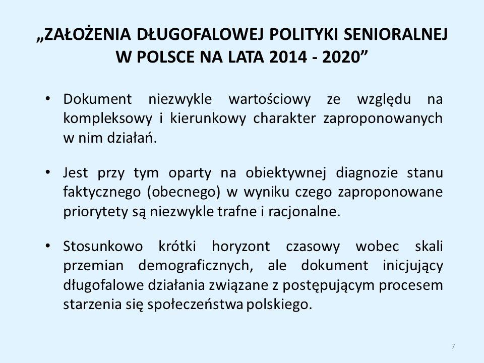 """""""ZAŁOŻENIA DŁUGOFALOWEJ POLITYKI SENIORALNEJ W POLSCE NA LATA 2014 - 2020"""