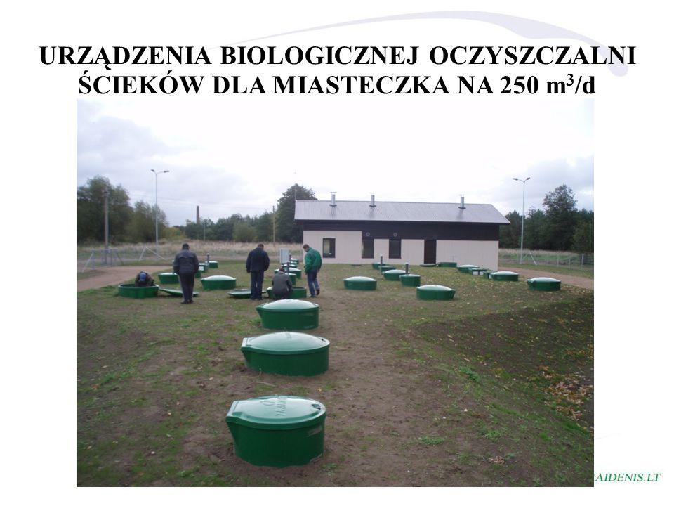 URZĄDZENIA BIOLOGICZNEJ OCZYSZCZALNI ŚCIEKÓW DLA MIASTECZKA NA 250 m3/d