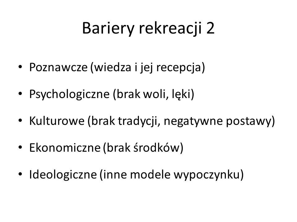 Bariery rekreacji 2 Poznawcze (wiedza i jej recepcja)
