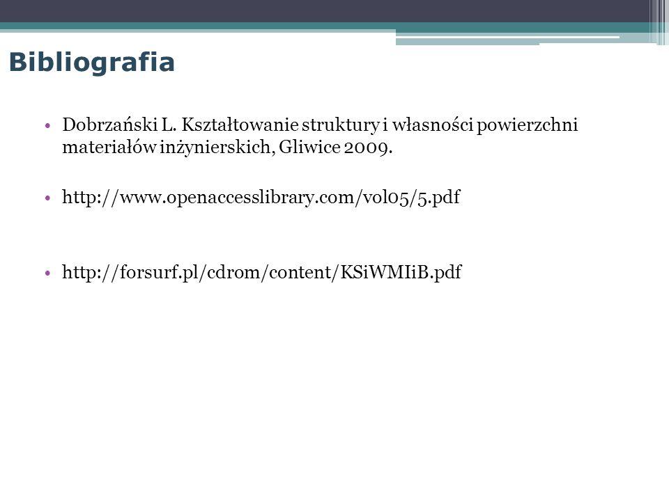 Bibliografia Dobrzański L. Kształtowanie struktury i własności powierzchni materiałów inżynierskich, Gliwice 2009.