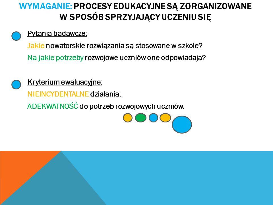Wymaganie: Procesy edukacyjne są zorganizowane w sposób sprzyjający uczeniu się