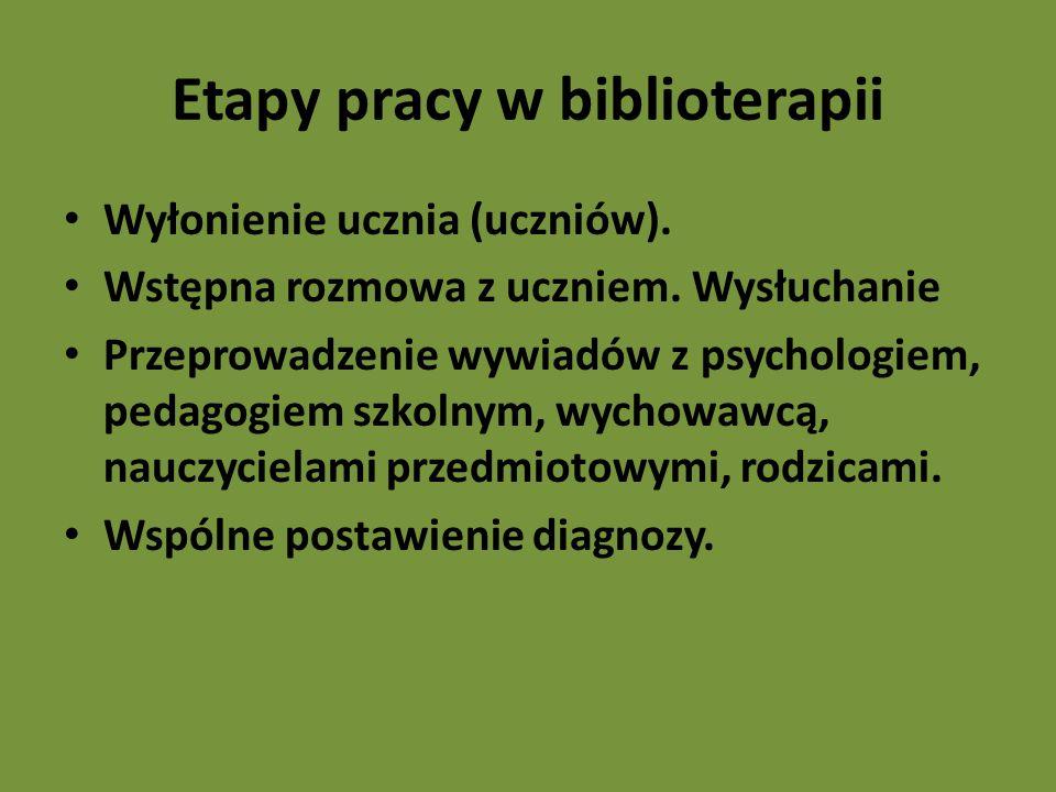 Etapy pracy w biblioterapii
