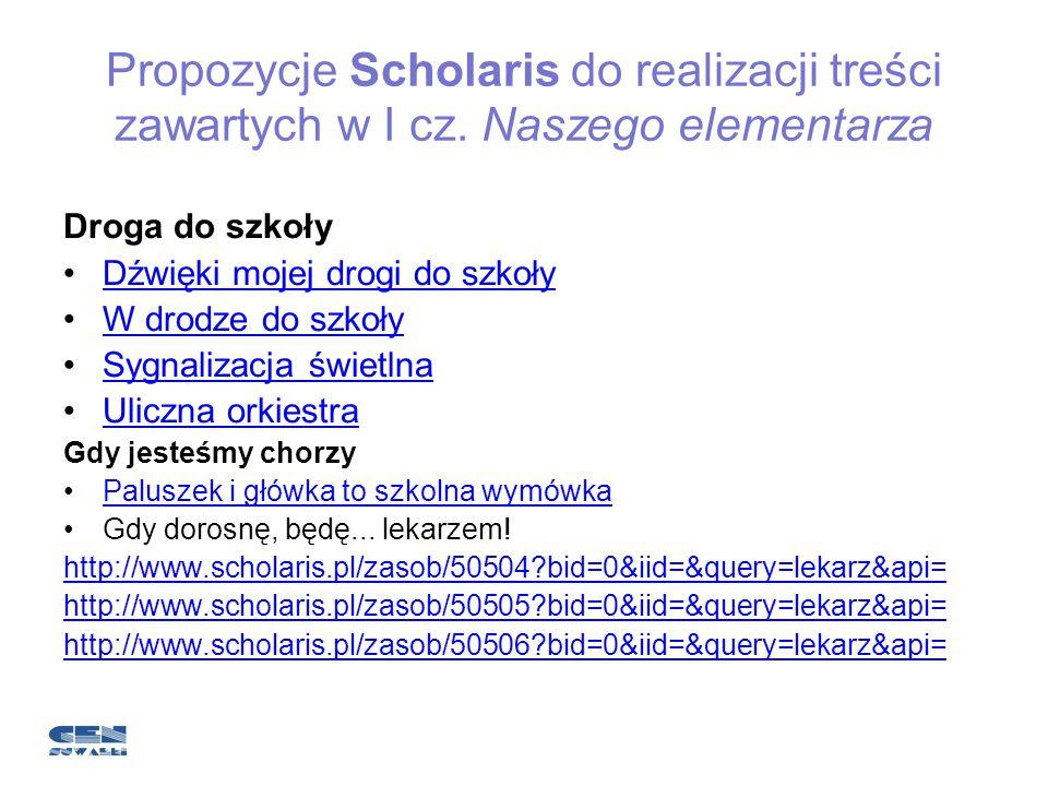 Propozycje Scholaris do realizacji treści zawartych w I cz