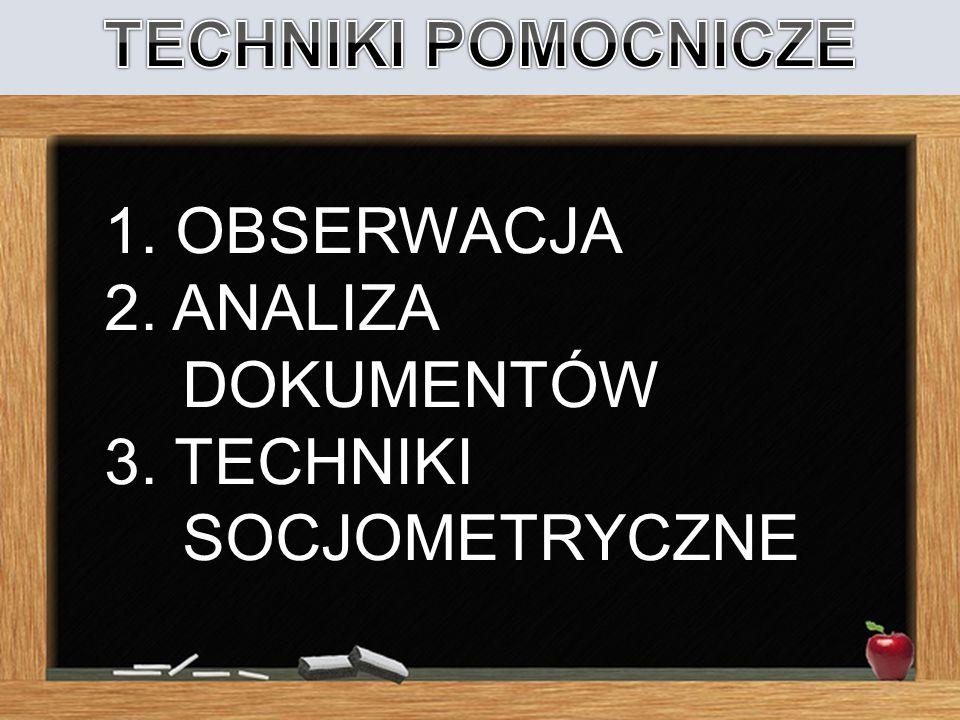 TECHNIKI POMOCNICZE 1. OBSERWACJA 2. ANALIZA DOKUMENTÓW 3. TECHNIKI SOCJOMETRYCZNE