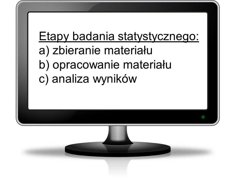 Etapy badania statystycznego: