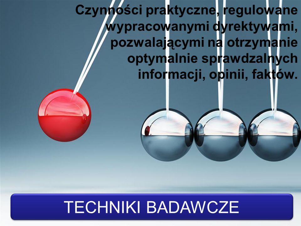 Czynności praktyczne, regulowane wypracowanymi dyrektywami, pozwalającymi na otrzymanie optymalnie sprawdzalnych informacji, opinii, faktów.