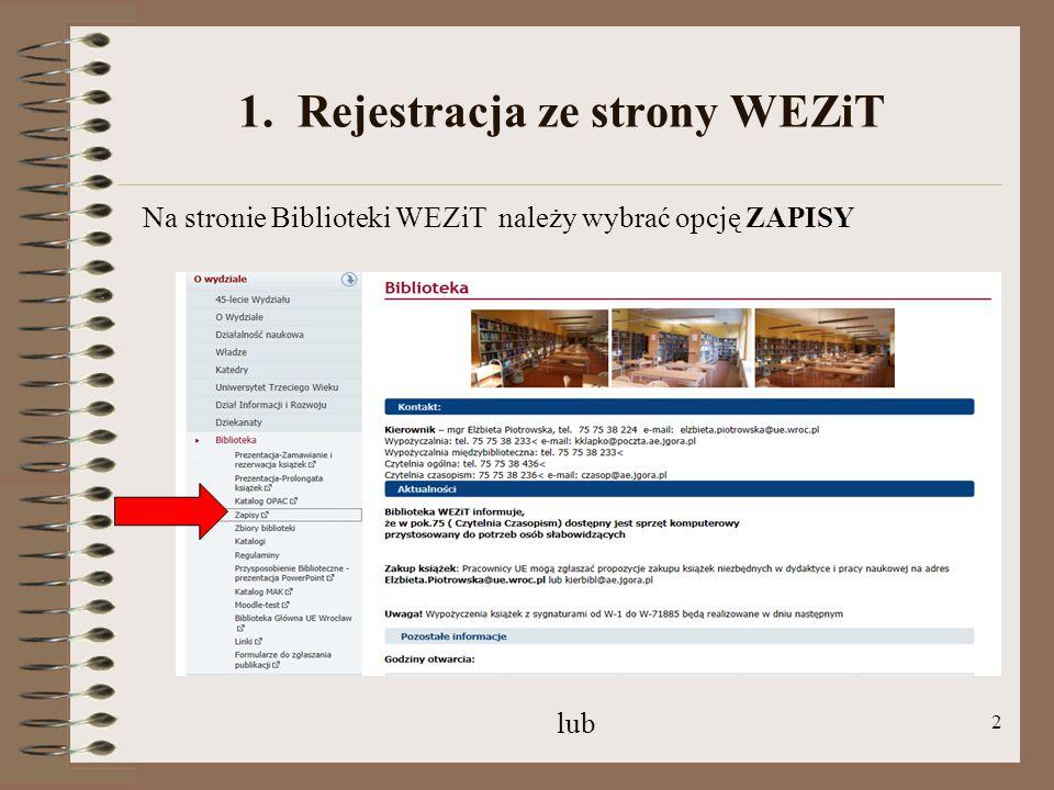 1. Rejestracja ze strony WEZiT