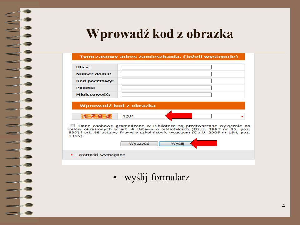 Wprowadź kod z obrazka wyślij formularz