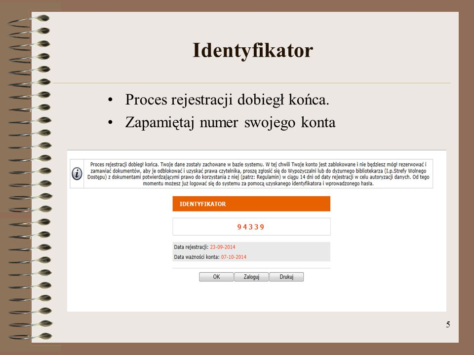 Identyfikator Proces rejestracji dobiegł końca.