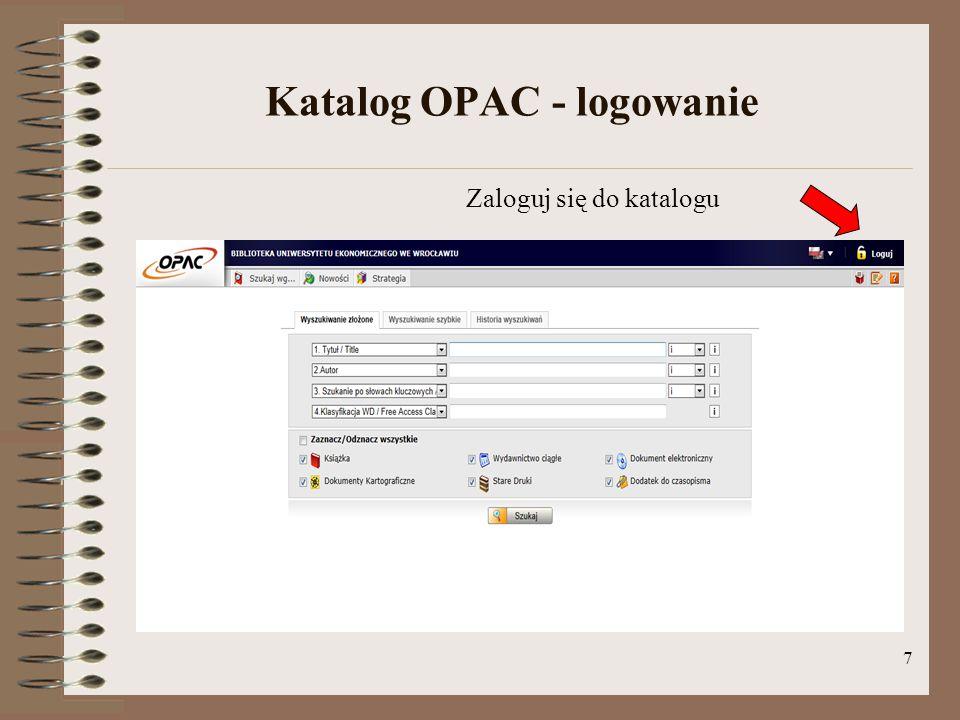 Katalog OPAC - logowanie