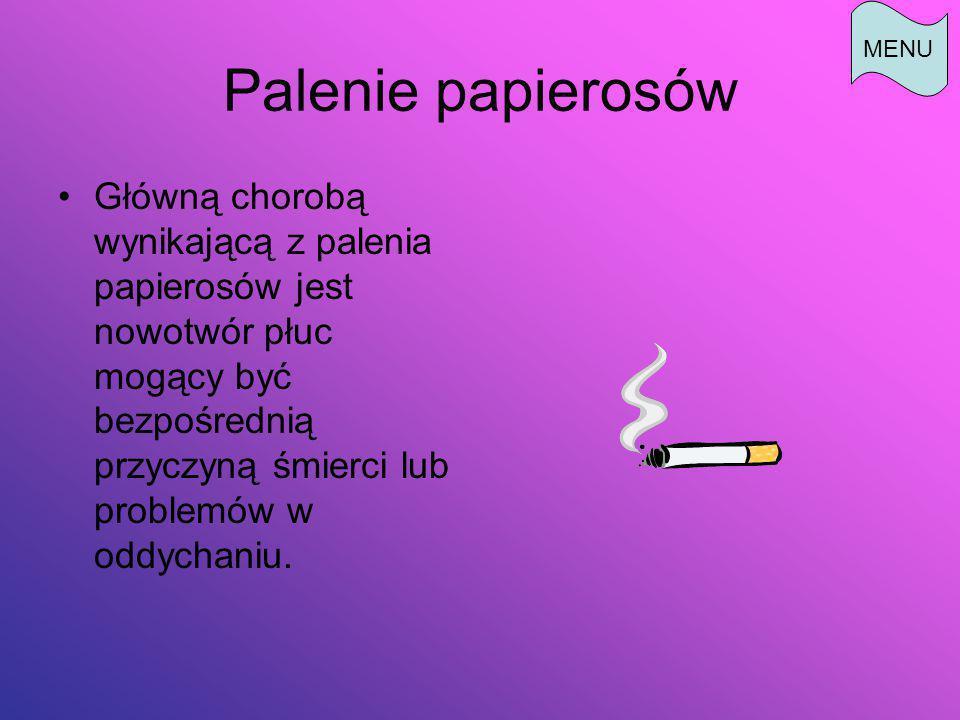 MENU Palenie papierosów.