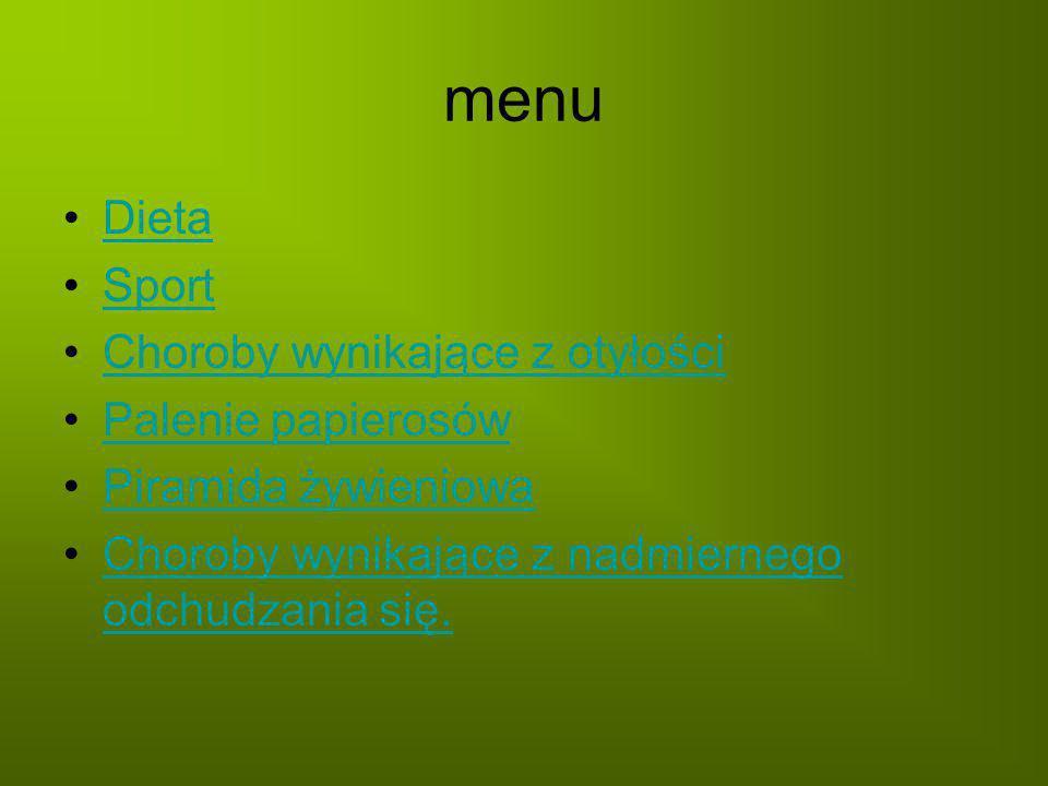 menu Dieta Sport Choroby wynikające z otyłości Palenie papierosów