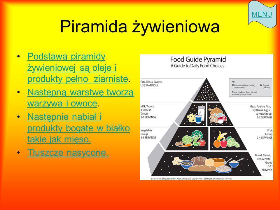 MENU Piramida żywieniowa. Podstawą piramidy żywieniowej są oleje i produkty pełno ziarniste. Następną warstwę tworzą warzywa i owoce.