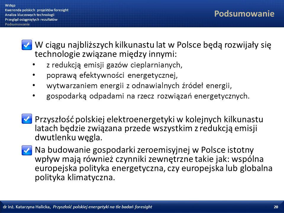 Wstęp Kwerenda polskich projektów foresight. Analiza kluczowych technologii. Przegląd osiągniętych rezultatów.