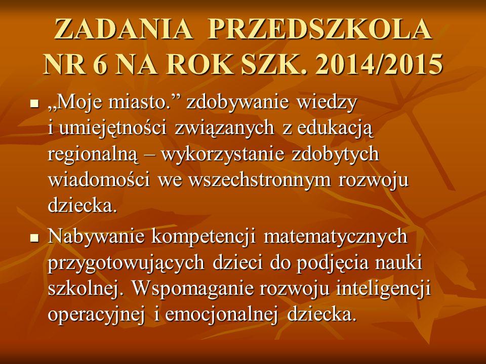 ZADANIA PRZEDSZKOLA NR 6 NA ROK SZK. 2014/2015