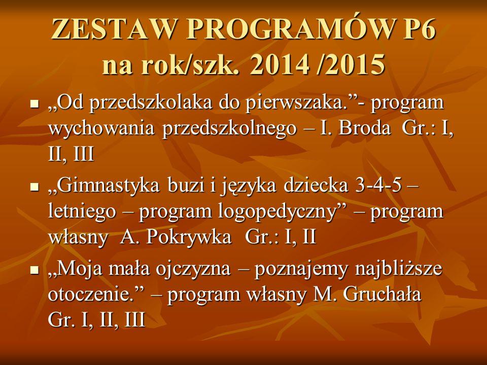 ZESTAW PROGRAMÓW P6 na rok/szk. 2014 /2015