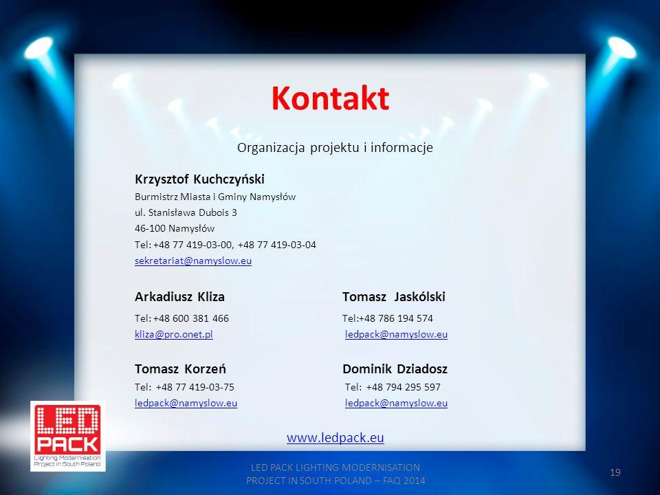 Kontakt Organizacja projektu i informacje Krzysztof Kuchczyński