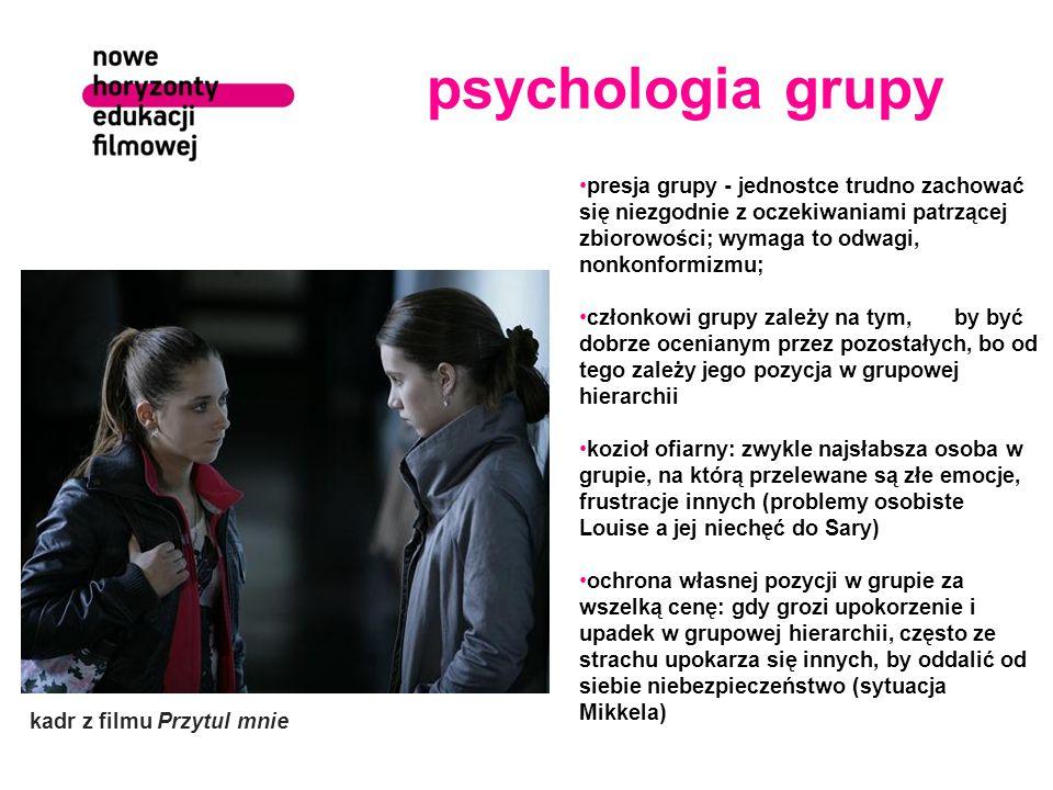 psychologia grupy presja grupy - jednostce trudno zachować się niezgodnie z oczekiwaniami patrzącej zbiorowości; wymaga to odwagi, nonkonformizmu;