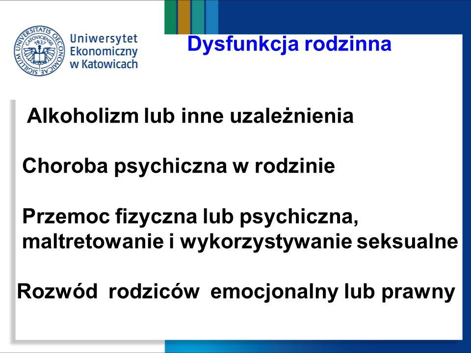 Choroba psychiczna w rodzinie Przemoc fizyczna lub psychiczna,