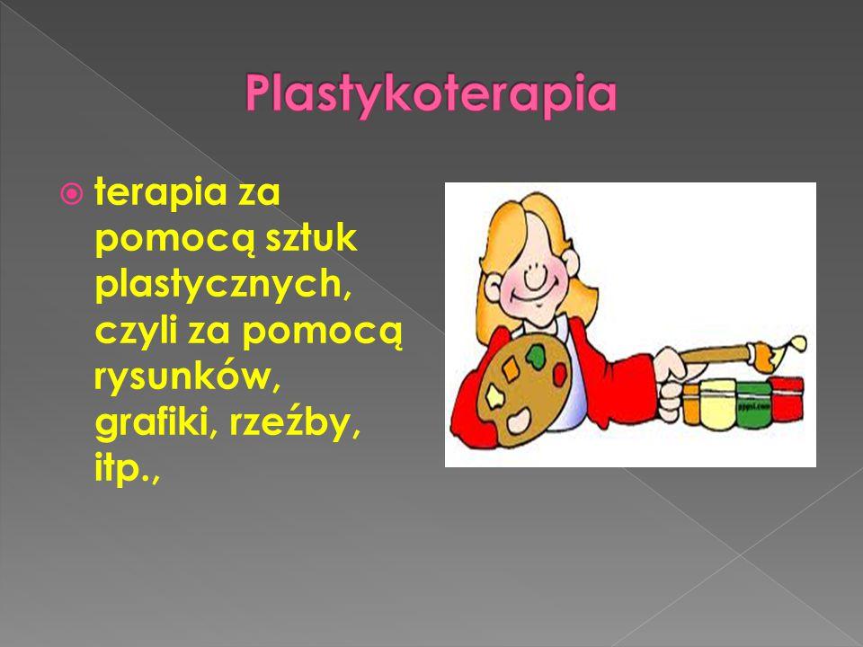 Plastykoterapia terapia za pomocą sztuk plastycznych, czyli za pomocą rysunków, grafiki, rzeźby, itp.,