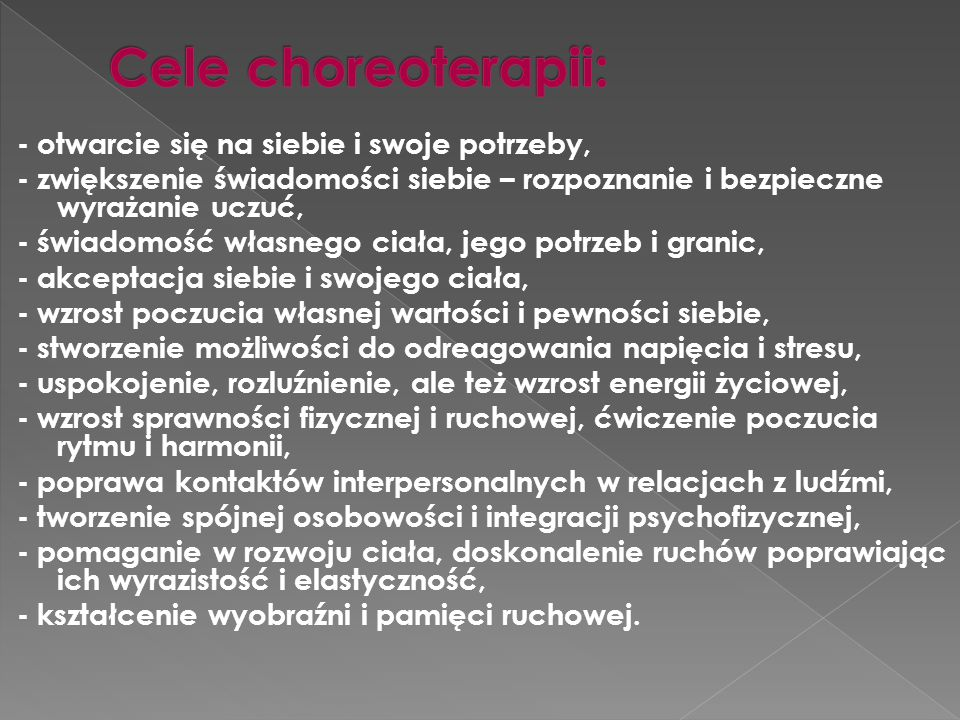 Cele choreoterapii: