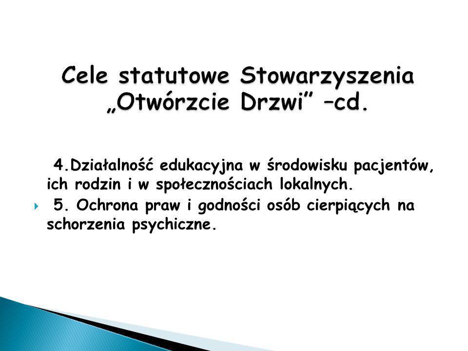 """Cele statutowe Stowarzyszenia """"Otwórzcie Drzwi –cd."""