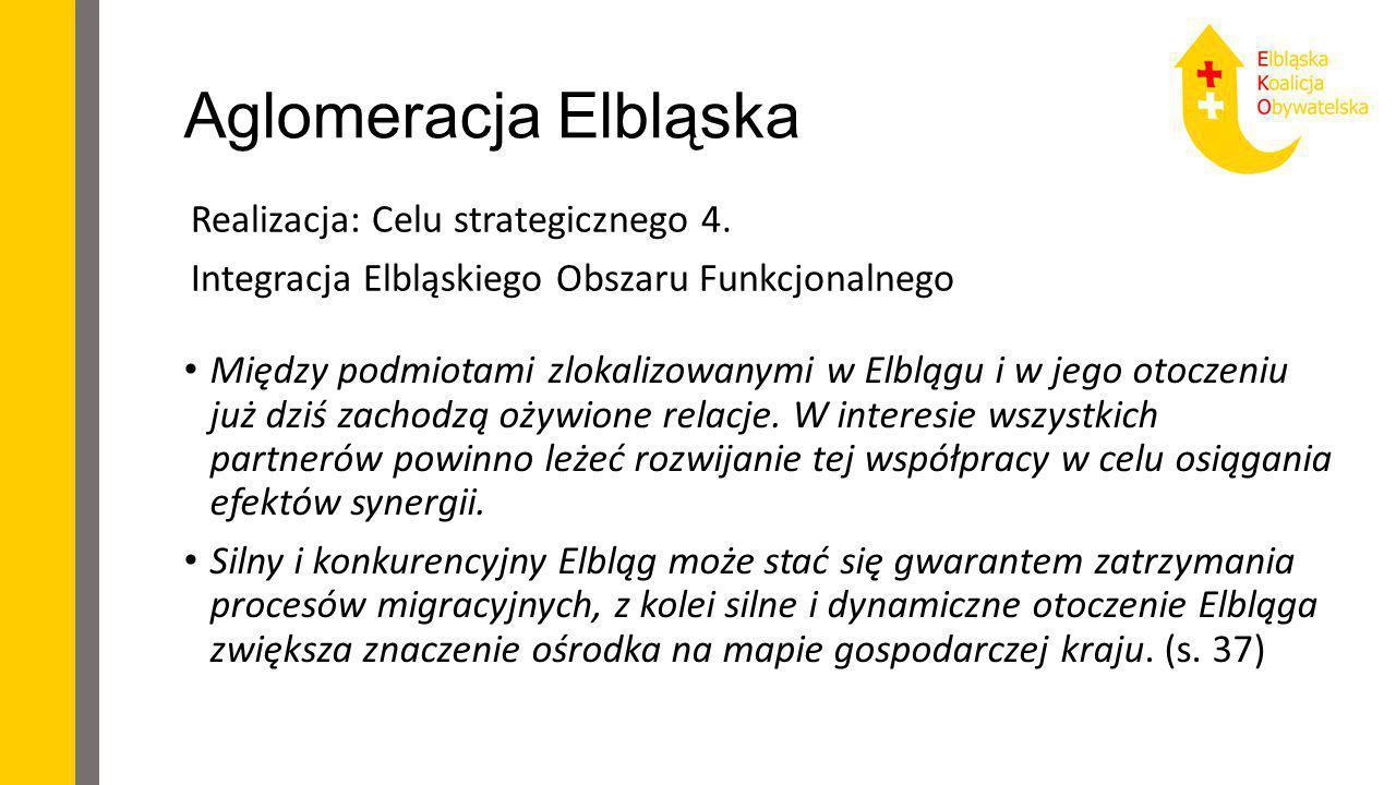 Aglomeracja Elbląska Realizacja: Celu strategicznego 4. Integracja Elbląskiego Obszaru Funkcjonalnego