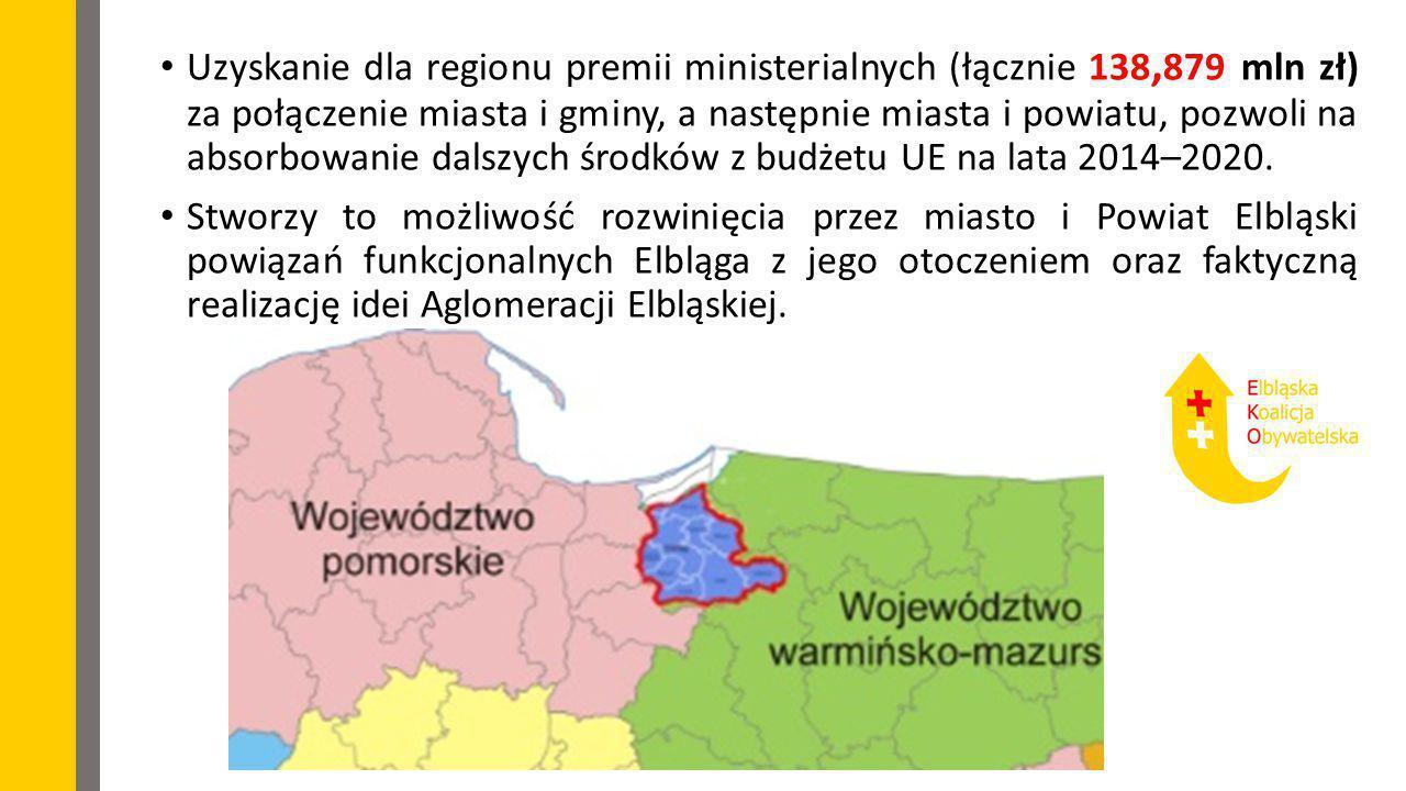 Uzyskanie dla regionu premii ministerialnych (łącznie 138,879 mln zł) za połączenie miasta i gminy, a następnie miasta i powiatu, pozwoli na absorbowanie dalszych środków z budżetu UE na lata 2014–2020.