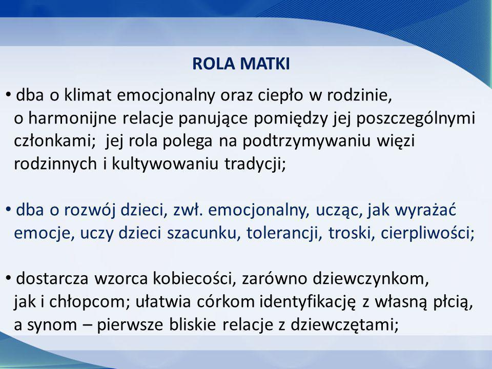 ROLA MATKI dba o klimat emocjonalny oraz ciepło w rodzinie, o harmonijne relacje panujące pomiędzy jej poszczególnymi.