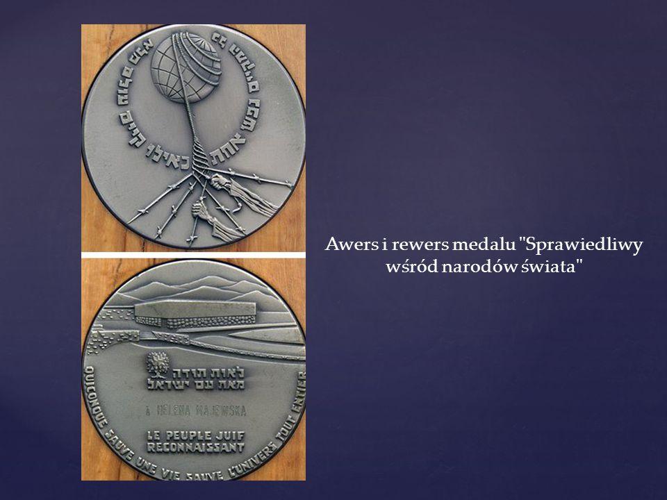 Awers i rewers medalu Sprawiedliwy wśród narodów świata