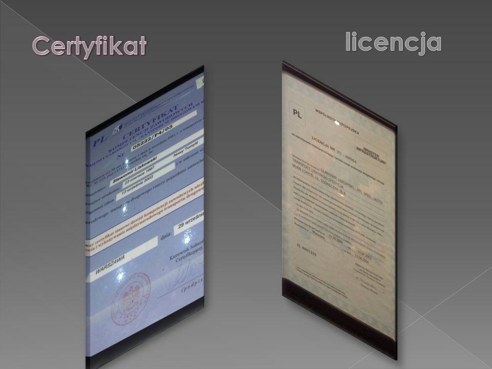 licencja Certyfikat