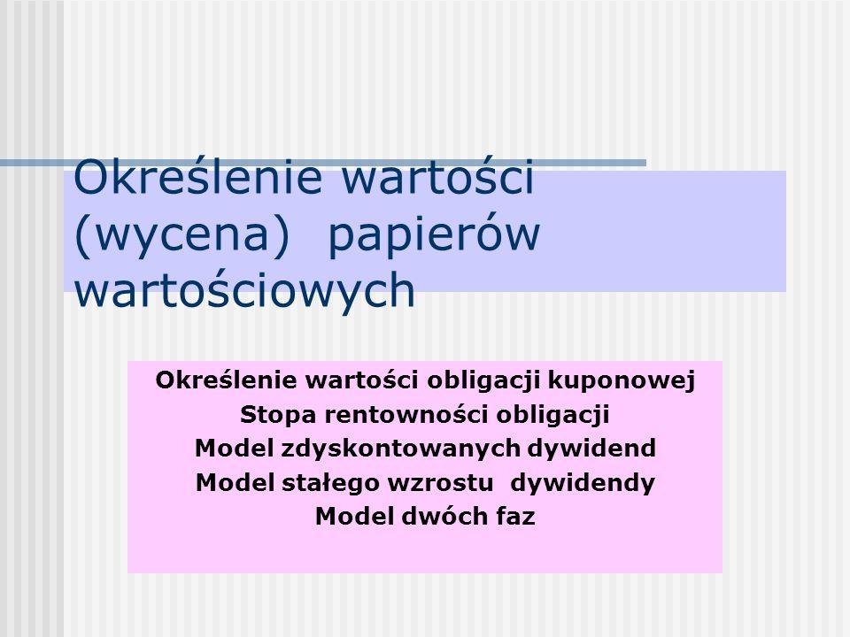 Określenie wartości (wycena) papierów wartościowych