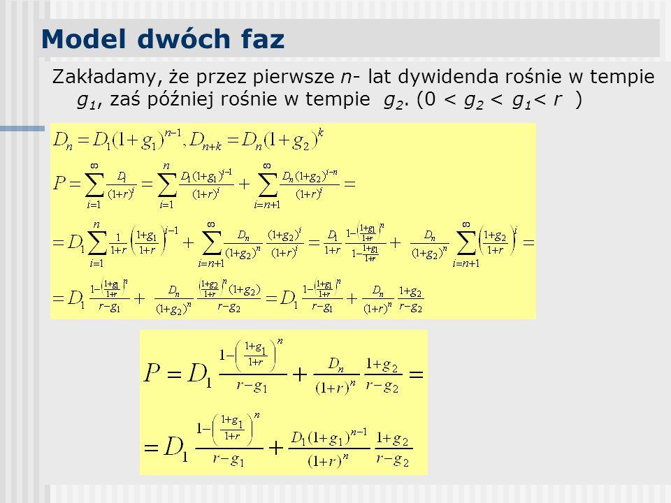 Model dwóch faz Zakładamy, że przez pierwsze n- lat dywidenda rośnie w tempie g1, zaś później rośnie w tempie g2. (0 < g2 < g1< r )
