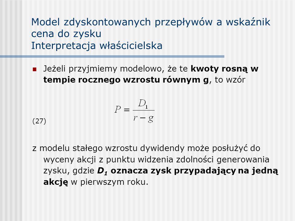 Model zdyskontowanych przepływów a wskaźnik cena do zysku Interpretacja właścicielska