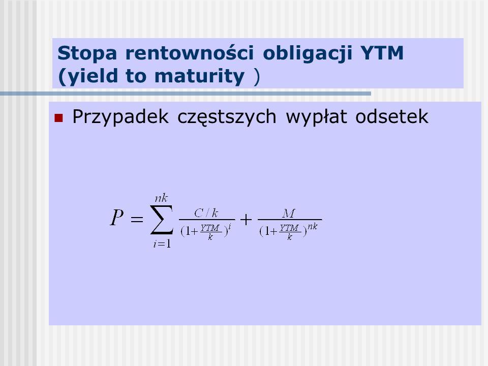 Stopa rentowności obligacji YTM (yield to maturity )