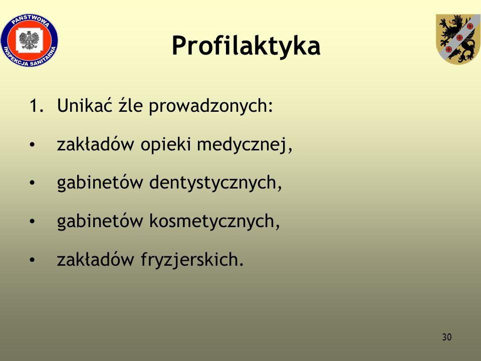 Profilaktyka Unikać źle prowadzonych: zakładów opieki medycznej,