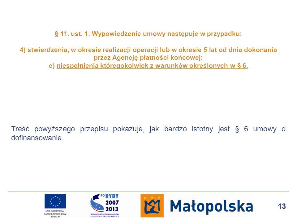 § 11. ust. 1. Wypowiedzenie umowy następuje w przypadku: 4) stwierdzenia, w okresie realizacji operacji lub w okresie 5 lat od dnia dokonania przez Agencję płatności końcowej: c) niespełnienia któregokolwiek z warunków określonych w § 6.